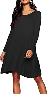 Womens Ladies Long Sleeve Midi Plain Flared A line Skater Swing Dress Jersey Tee