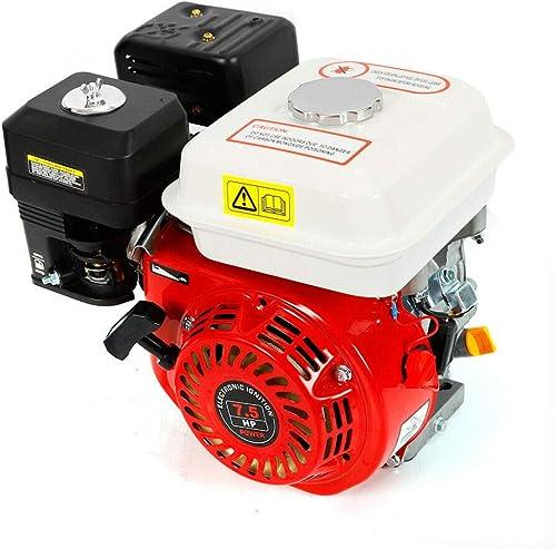 7,5 CV Moteur à essence,Moteur à kart industriel 4 Temps,1 Cylindre,3600 tr/min (Noir et blanc)
