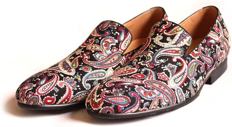 Fulinken Men's Fashion Velvet Slip-on shoes Round Toe Slippers Mens Casual Embroidered Loafers Black bluee Red