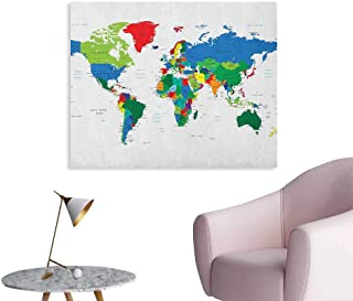 Anzhutwelve World Map Photographic Wallpaper Colorful Political Map Borders Between Countries Different Nations and Cultures Custom Poster Multicolor W28 xL20