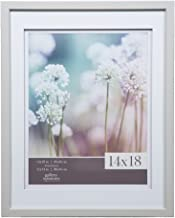 Gallery Solutions 14x18 Light Grey Wood Wall Frame with Double White Mat For 11x14 Image