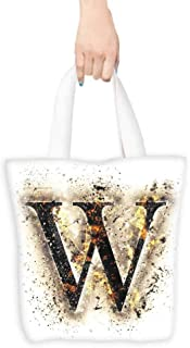 Reusable Shopping Grocery Bags,Letter W W Symbol on Fire Scorched Blurry Background Heat Image Smoke Design Print,Canvas Grocery Shopping Bags with Handles,16.5