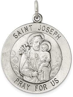 925 Sterling Silver Saint Joseph Medal Pendant Charm Necklace Religious Patron St Fine Jewelry For Women