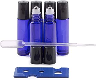 10 mL Cobalt Blue Glass Roller Bottles w/Oil Key and Pipette 6 Pack - Leak Proof Stainless Steel Roller Ball - Perfect for...