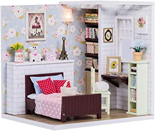 ROBOX DIY Miniature Dollhouse Kits 1/24 Scale Craft Models for Kids Cute MiniDoll House Tiny Building Pink Floral Gifts f...