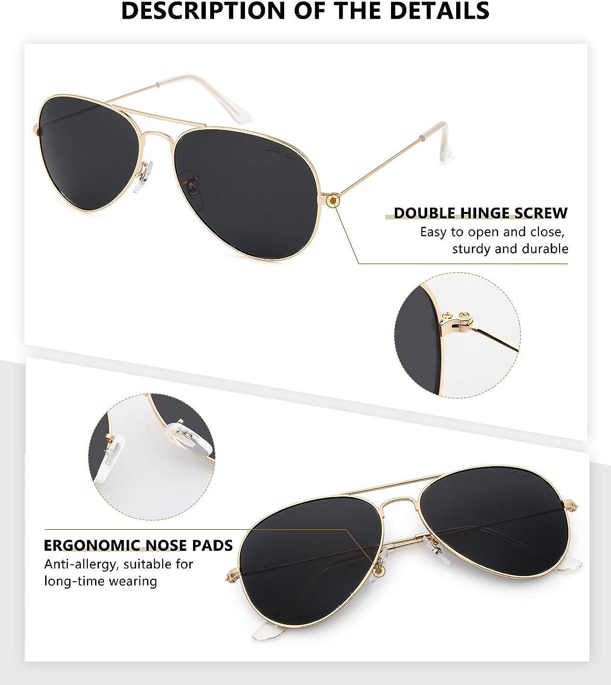 livho Classic Polarized Aviator Sunglasses UV Mirrored Lens Metal Retro Shades