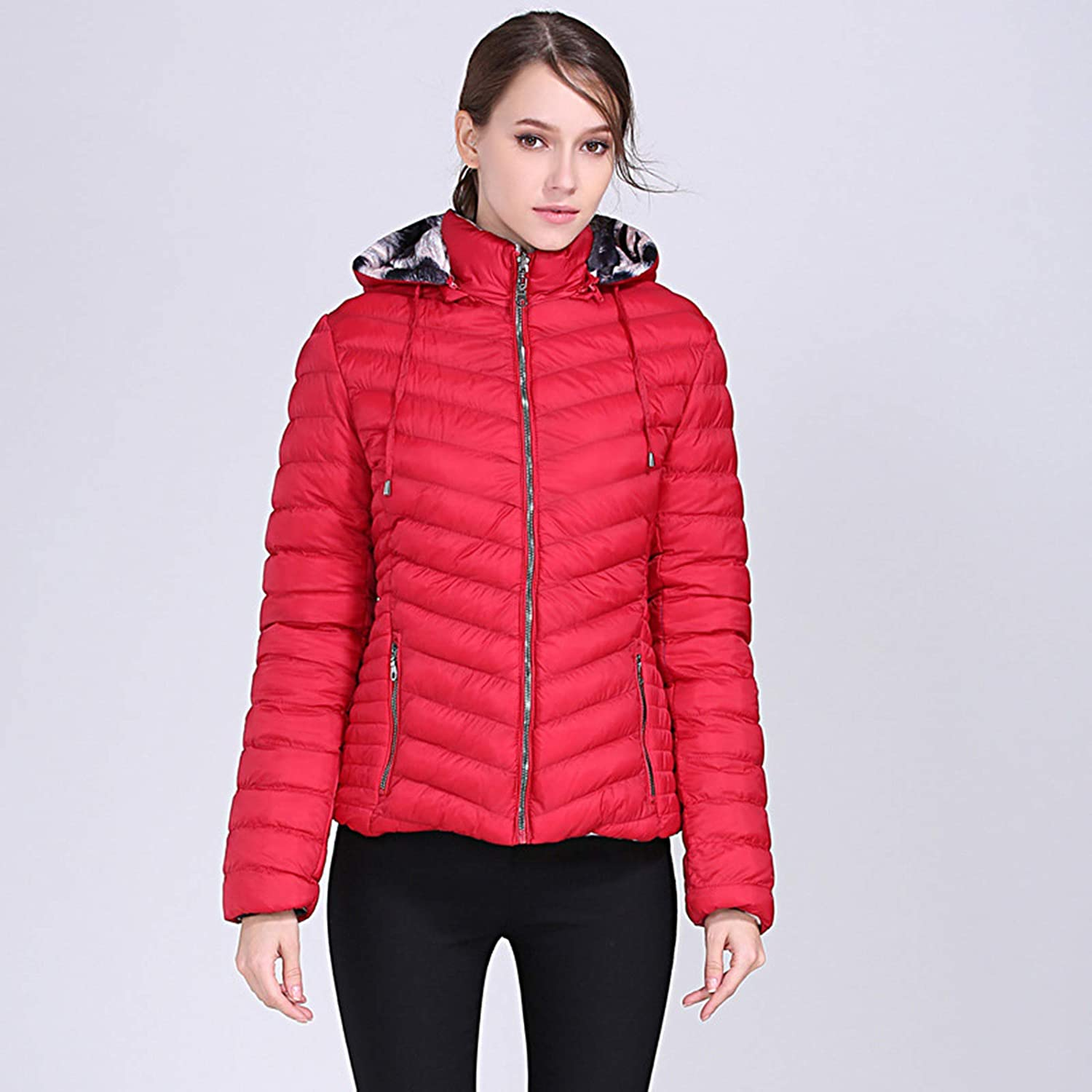 ZhaoZC New Ladies Down Padded Jacket, Camouflage Solid Color Double-Sided Padded Jacket Women,Red,L