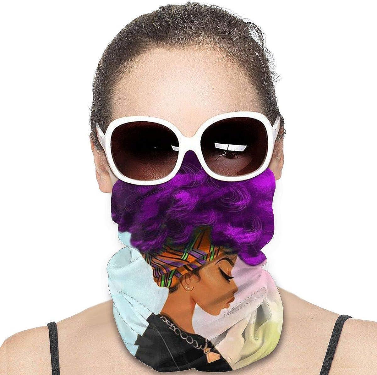 JinSPef Balaclava Sun Protection Face Mask - African American Black Women with Purple Hairs for Men Neck Gaiter Neck Gaiter Head Bands Neck Gaiters for Men Headwear Sun Mask