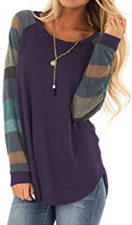 Halife Women's Lightweight Color Block Long Sleeve Loose Fit Pullover Sweatshirts Tunics Tops Shirts