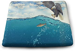 YETSH Chair Pads Square 16 x 16 Inch Hunting Fish Memory Foam Seat Cushion Seat Pads for Office/Car/Dining Chair