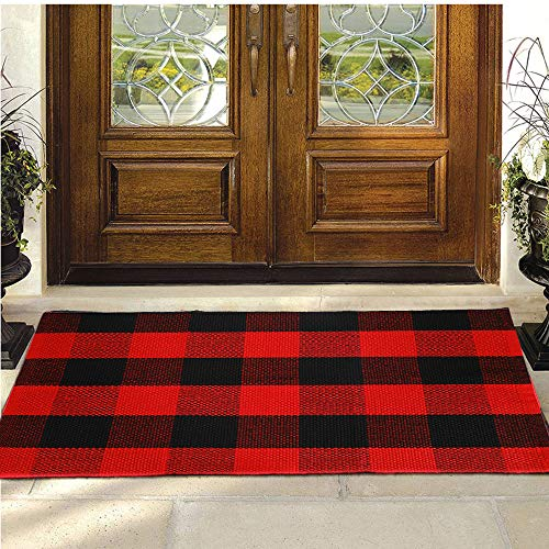 """Buffalo Plaid Rug - YHOUSE Cotton Front Door Mat Outdoor Doormat Washable Checkered Rugs Indoor/Outdoor Welcome Mat for Layered Mat Porch/Kitchen/Farmhouse/Entry(23.6""""X35.4"""", Red and Black Plaid)"""