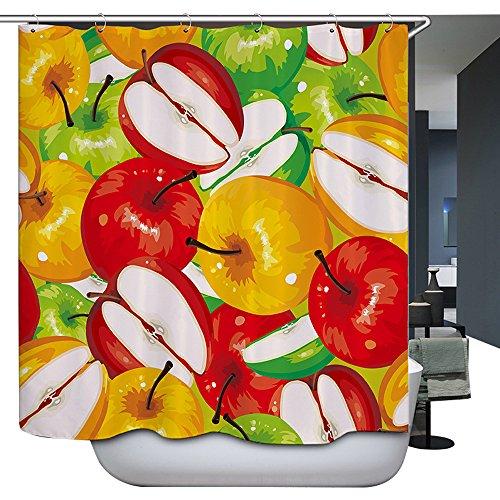 Harson&Jane Cortina de Ducha Baño Tela Poliéster 180×180 cm /72 ×72inch /180×200 cm /72×78inch Incluye 12 ganchos de cortina de ducha blanca (180*200, 9)