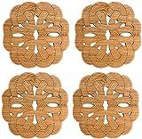 Posavasos De Mesa Posavasos para bebidas Posavasos Posavasos de bambú Set Cocina Mesa de comedor Decoración Zen Tea Coaster incluye 4pcs Posavasadores tallados para bebidas - Gran regalo para decoraci