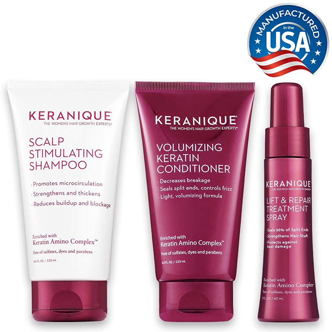 Keranique 30 Day Lift & Repair Kit   Shampoo, Conditioner, and Lift & Repair Treatment Spray   Keratin Amino Complex   Seals Split Ends   Free of Sulfates, Dyes and Parabens