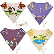 Reversible Bandana Baby Drool Bibs w/Leash for Pacifier/Teether Boy Set Infant-Toddler
