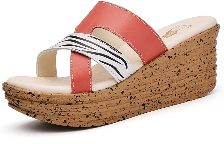 T -JULY Genuine läder Woherrar Platform Sandals Flip Flip Flip Flops Slippers strand skor Damers sommar Gladiator hög klack Sandaler  snabb frakt och bästa service