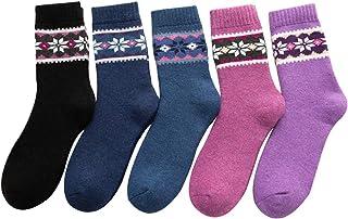 H-D, Calcetines térmicos de invierno para mujer, 5 pares de lana de punto cálido