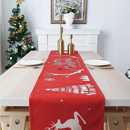 BHAHFL Runner da tavola in Stile Natalizio con Nappe Tovaglia Rossa 33 x 180 cm Tovaglioli 2 Lati in Cotone e Lino Vacanze,J Feste Decorazione Classica per Sala da Pranzo