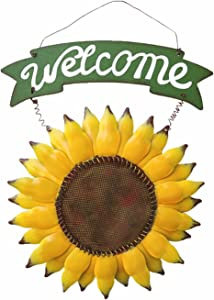 D-Fokes Welcome Sign Rustic Front Door Decor Metal Sunflower Welcome Sign for Outdoor Decorative Garden Home Welcome Hanging Sign Decor