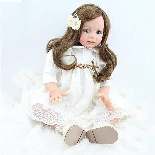 respuestas rápidas ZXKS 24 Pulgadas simulación muñeca muñeca muñeca Juguete Vestido blanco Renacimiento bebé fotografía apoyos de la educación temprana  vendiendo bien en todo el mundo