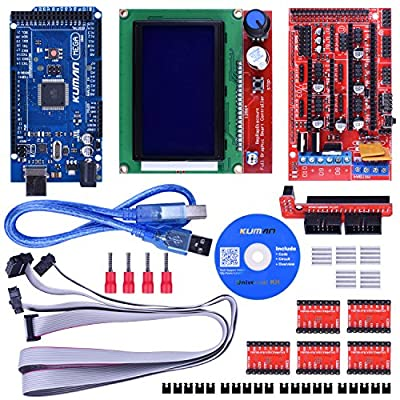 kuman Upgraded 3D Printer Controller Kit w/ Tutorial Compatible with ArduinoIDE electronic projects robot kits With Mega 2560 R3 +RAMPS 1.4 + A4988 Stepper Motor Driver+ LCD 12864 K17