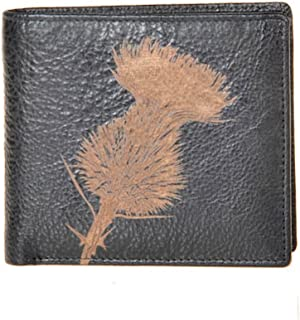 Authentic Leather Guild Grained Dark Brown Leather Highland Thistle Engraved Wallet