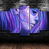 BHJIO 5 Piezas Cuadro sobre Lienzo Imagen Girl Face Colorful Makeup Impresión Pinturas Murales Decor Fotos para Salon Dormitorio Baño Comedor Regalo 80X150Cm