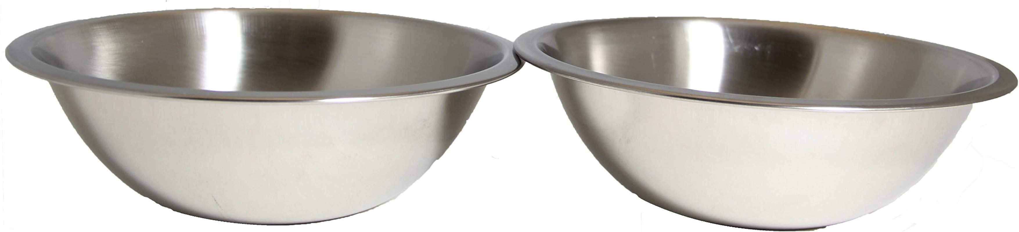 SET OF 2 10 Inch Wide Stainless Steel Flat Rim Flat Base Mixing Bowl
