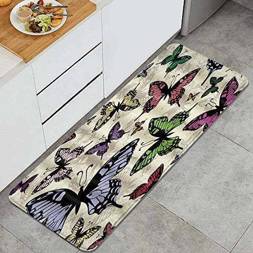 VINISATH Tappeti Cucina Antiscivolo Tappeti per Cucina Lavabile Tappetino Bagno Zerbino Tappeto Cucina Passatoia,Farfalla fantasia decorazione farfalla colorata
