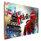 Feeby Frames, Wandbild, Deco Bild, gedrucktes Bild, Deco Panel, Bild, 70x100 cm, London, Hallo, Inschrift, Symbole, Flagge, Zelle, MODERN