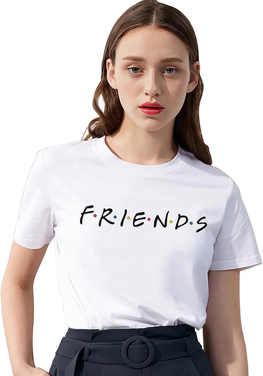 Friends - Camiseta de verano para mujer, diseño con letras impresas, camiseta de manga corta, para deporte, para el aire libre, 1 unidad