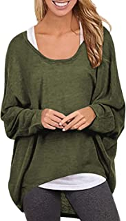 Yidarton Womens Sweater Casual Oversized Baggy Off-Shoulder Long Sleeve Pullover Shirts Tops
