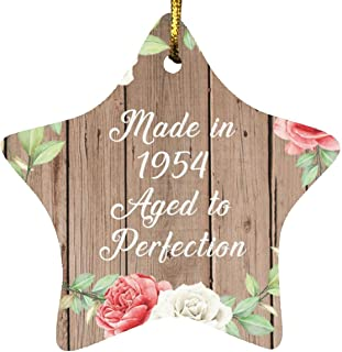 67th Birthday Made in 1954 Aged to Perfection - Star Wood Ornament B Christmas Tree Hanging Decor - for Friend Kid Daughte...