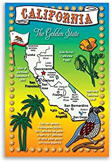 CALIFORNIA STATE MAP postcard set of 20 identical postcards. Post cards with CA map and state symbols. Made in USA.