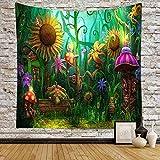 Tapiz de paisaje de bosque de fantasía, tapiz de setas con diseño de animales mágicos, plantas verdes, para colgar en la pared, sala de estar, dormitorio, 156 x 152 cm