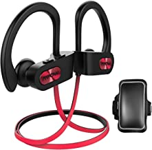 Mpow D3 Bluetooth Headphones with A1 Universal Phone Armband, IPX7 Waterproof Wireless Earphones, HD Stereo Sound 8-10H Battery Noise Cancelling Headsets, Wireless Sport Headphones for Running, Red