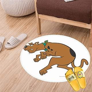 Round Bathroom Rugs Velvet Bath Mat Non-Slip Door Carpet Soft Luxury Microfiber Machine-Washable Floor Rug for Doormats Tub Shower(60CM)-Boo Scooby doo Pose
