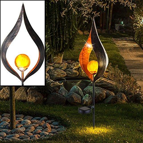 LED Steck Leuchte SOLAR Flammen Design Garten Beleuchtung Hof Außen Lampe Erdspieß Strahler Crackle Glas