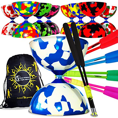 Juggle Dream Jester Diabolo Set mit Diablo Fiber Handstäbe und Diaboloschnur + Reisetasche! Super Diabolos! (Multicolour+Blau Stäbe)