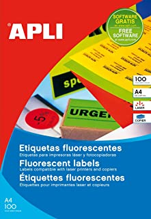 APLI 12985 – Permanent Fluorescent Yellow Labels 99.1 x 67.7 mm 100 Sheets