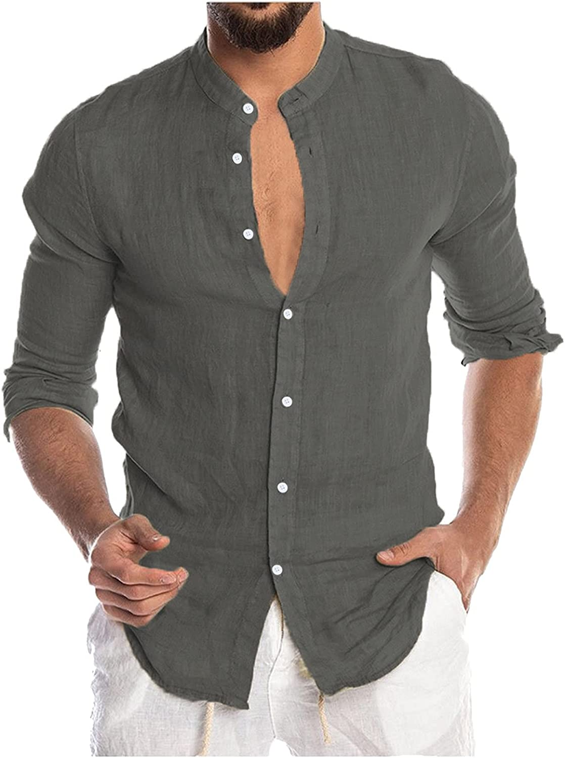 WOCACHI Long Sleeve Shirts for Mens, Button-down Fall Roll-Up Casual Slim Fit Solid Tops Shirts with Front Pockets
