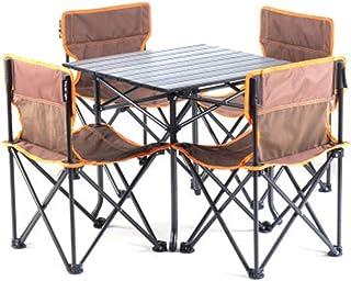 Mesas de Camping Plegables Mesas de Picnic portátiles Escritorio Plegable Juego de Mesa Plegable con 4 sillas para hostelería Camping Caballete Picnic Jardín Patio BBQ Fiesta Pesca Lili (Col