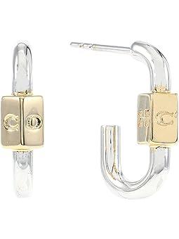 코치 귀걸이 COACH Carabiner Huggie Earrings,Two-Tone
