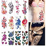 12 Sheets Flower Temporary Tattoos for Women Adults 3D Butterfly Rose Tattoo Sexy Fake Tattoo Stickers Waterproof Body Art Temp Tattoo Paper Colored Floral Lily Lotus Peony Festival Makeup Tattoo.