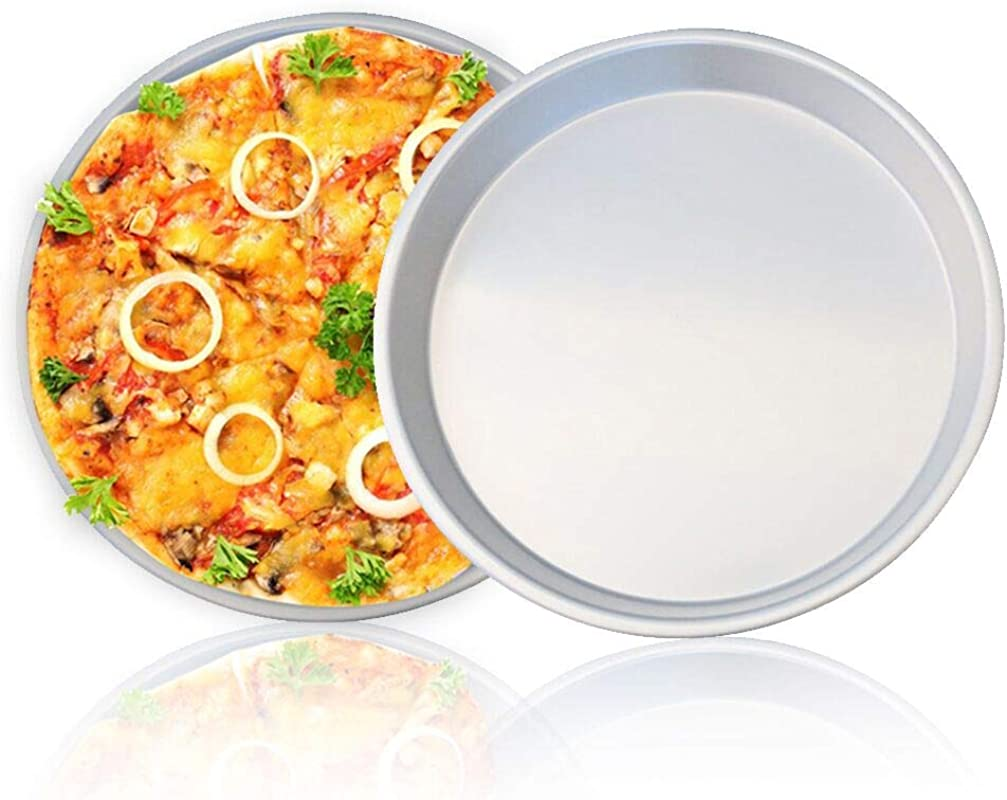 Pizza Pan 8 Inch Pizza Tray Stainless Steel For Oven Baking Round Metal Pizza Pans Non Toxic Healthy Dishwasher Safe Pizza Baking Tray Pan Silver