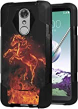 Moriko Case Compatible with LG Stylo 3, LG Stylo 3 Plus [Drop Protection Hybrid Fusion Dual Layer Shockproof Combat Kickstand Black Cover Case] for LG Stylus 3 - (Fire Horse)