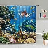 Cortina de Ducha de Animales del Mundo Acuario Peces Tropicales Coral Plantas Verdes decoración de paisajismo de Verano con Ganchos