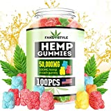 Hemp Gummies Premium 50000mg High Potency Made & Grown in USA- Organic Hemp Extract Infused, Natural Hemp Candy for Pain, Anxiety, Stress & Inflammation Relief - Promotes Sleep and Calm Mood