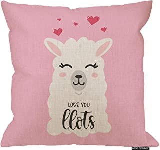 HGOD DESIGNS Llama Throw Pillow,Valentines Day Love You Llots Llama Quote Design Cotton Linen Decorative Square Accent Pillow Case, 18 X 18 Inches