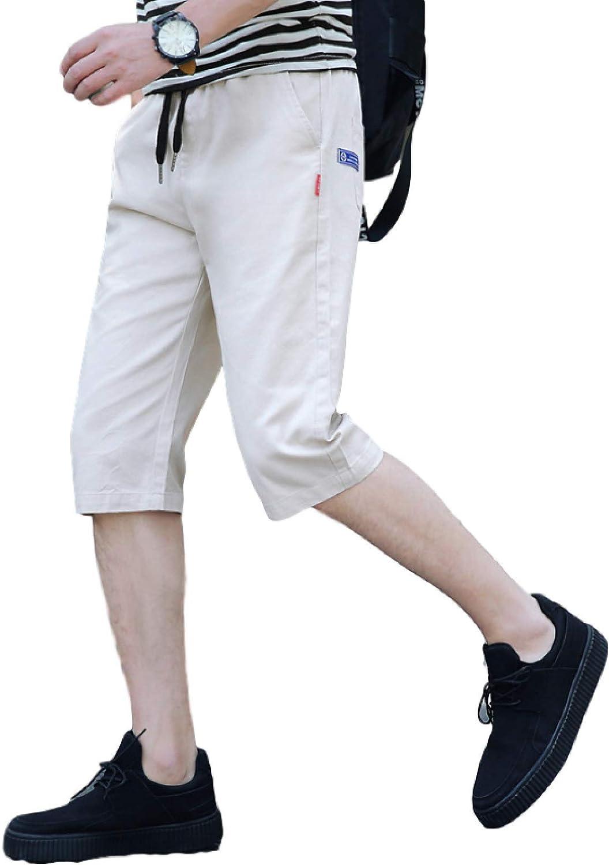 Huntrly Men's Denim Shorts Summer Thin Loose Straight Cropped Pants Casual Slim Denim